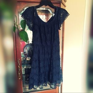 NWOT Nordstrom Sequin Hearts Navy Blue Lace Dress